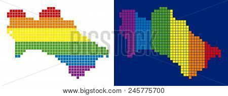 Dot Lgbt Turkmenistan Map Variants. Vector Geographic Maps In Spectrum Colors With Vertical And Hori