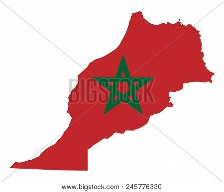 National Flag Of Morocco In The Country Silhouette. Moroccan State Ensign. Red Field And Green Penta