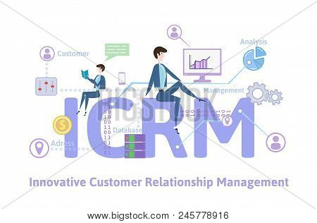 Icrm, Innovative Customer Relationship Management. Concept With Keywords, Letters And Icons. Colored