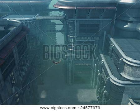 dismal futuristic cityscape
