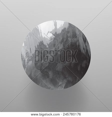 Stock Vector Illustration Shiny, Sparkly Silver Leaf Circle. Metal Foil Texture Isolated On Gray Bac