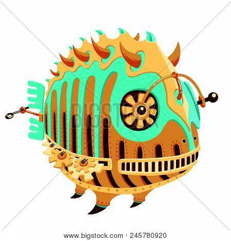 Robot-fish With Yellow And Turquoise Metal Parts And A Propeller. Round Hollow Fish Robot. Exotic Me