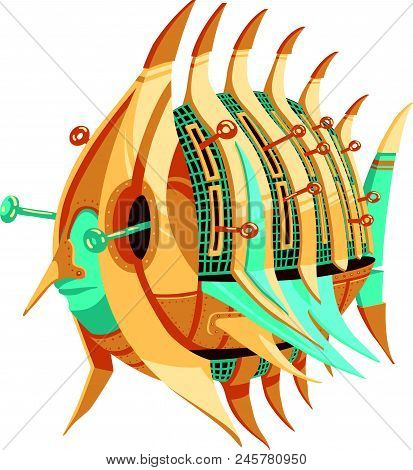 Robot-fish With Yellow And Turquoise Metal Parts And A Levers. Round Fish Robot With Pointy Fins. Ex