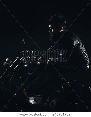 Bikers Leisure Concept. Macho, Brutal Biker In Leather Jacket Riding Motorcycle At Night Time, Copy