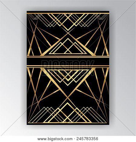 Art Deco ,art Novo Page  Template  Luxury Elegante Texture Geometric Style, Gatsby Concept, Golden B