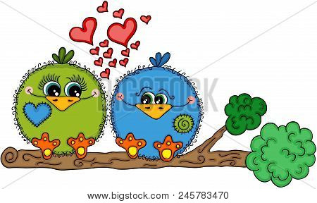 Scalable Vectorial Representing A Cute Love Bird Couple Sitting On Tree Branch, Element For Design,