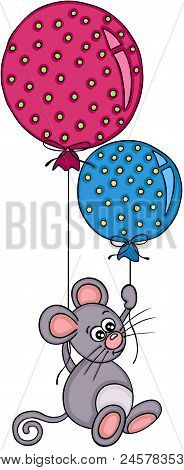 Scalable Vectorial Representing A Little Mouse Flying With Two Balloons, Element For Design, Illustr
