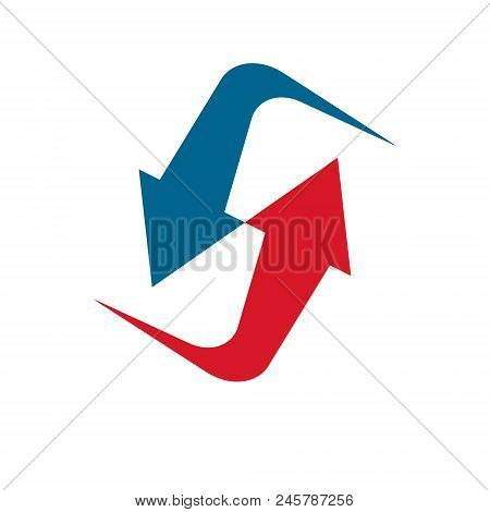 Vector Arrow Pointing Upwards. Business Development Logo Isolated On  White Background. Company Incr