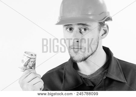 Man In Helmet Got Bribe, Money For Illegal Work, Copy Space. Builder Earn Money, Repairman Holds Cas