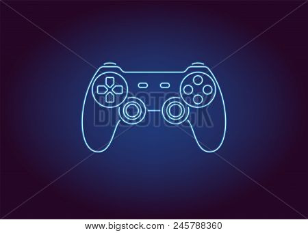Neon Icon Of Blue Joystick. Vector Illustration Of Wireless Gamepad Consisting Of Neon Outlines. Neo