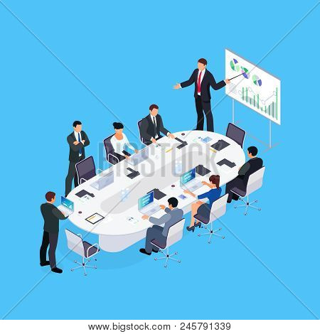 Isometric Concept Of Office Life. Business Conference. 3d Businessmen Sit At A Large Table And Liste