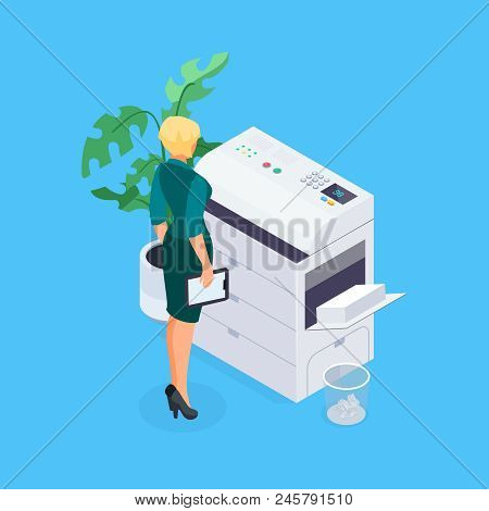 Isometric Office Life Concept. Woman Works On A Photocopier. 3d Office Worker Makes Copies On The Sc