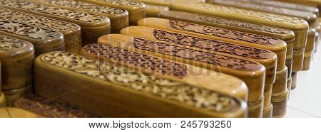 Group Of Wooden Complicated Decorated Carved Pencil Box. Engraved Wooden Pencil Case