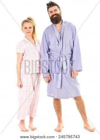 Couple Hold Hands Together, Isolated On White Background. Couple In Love In Pajama, Bathrobe. Couple