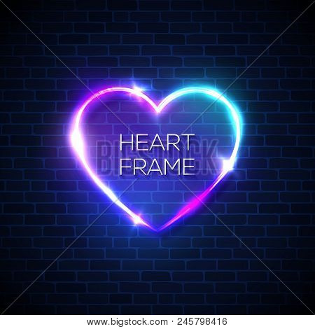 Night Club Heart Neon Realistic Sign. 3d Retro Light Signage With Shining Neon Effect. Techno Frame