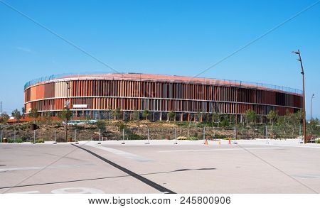 TARRAGONA, SPAIN - FEBRUARY 24, 2018: A view of the Sports Centre, in the Mediterranean Ring, for up to 5.000 people, that will host handball competition during the XVII Mediterranean Games