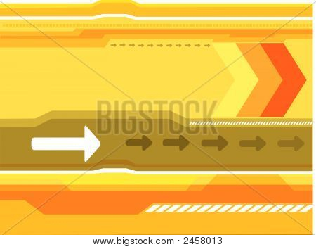 orange gold white lines and arrows with yellow background poster
