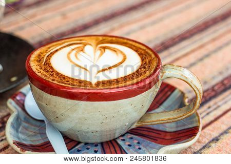 Hot Mocha Coffee. Cup Of Hot Coffee With Beautiful Art. Morning Breakfast With Hot Coffee Latte Art