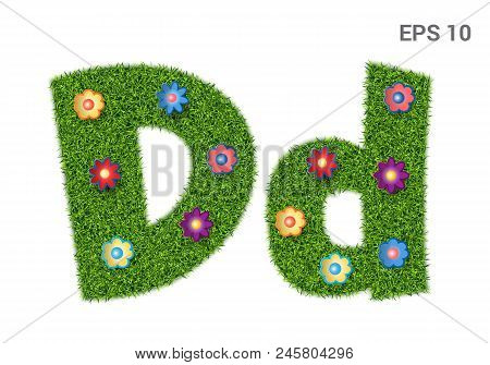 Dd - Capital And Capital Letters Of The Alphabet With A Texture Of Grass. Moorish Lawn With Flowers.
