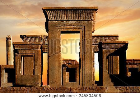 Persepolis - Capital Of The Ancient Achaemenid Kingdom. Ancient Columns. Sight Of Iran. Ancient Pers