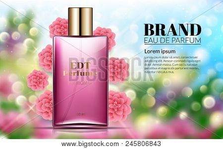 Perfume Ads Realistic Style Perfume In A Glass Bottle On Floral Blured Background Bokeh Pink Flowers