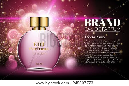 Beautiful Pink Bottle Womens Perfume Products. Cosmetic Fragrance. Spring Aroma Liquid. Blurred Ligh