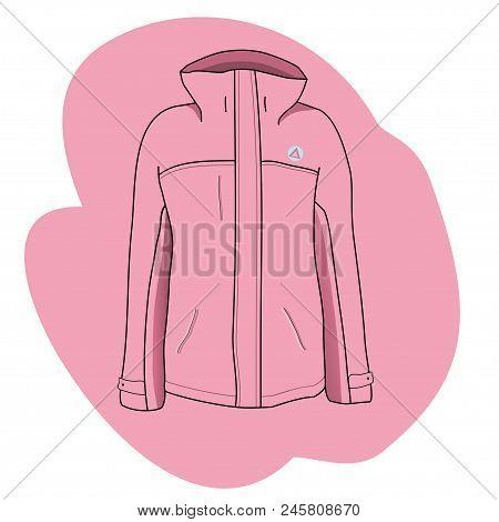 Ski Jacket Isolated On White Background. Pink Sport Jacket Illustration.