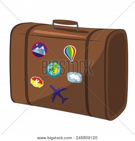 Brown Suitcase Isolated On White Background. Isolated Suitcase Illustration.