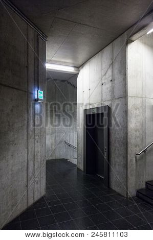 Elevator In New House, Modern Reinforced Concrete Core, Contemporary Lift In Office Building, Concre