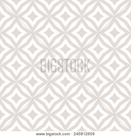 Subtle Abstract Floral Seamless Pattern. Vector White And Beige Background. Simple Geometric Ornamen