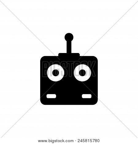 Remote Controller Car, Drone, Fly Toys. Flat Vector Icon Illustration. Simple Black Symbol On White