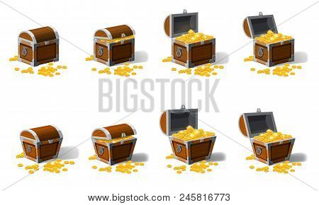 Set Old Pirate Chests Full Of Treasures, Gold Coins, Vector, Cartoon Style Illustration Isolated