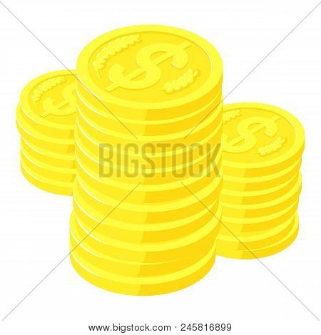Dollar Coins Icon. Isometric Of Dollar Coins Vector Icon For Web Design Isolated On White Background
