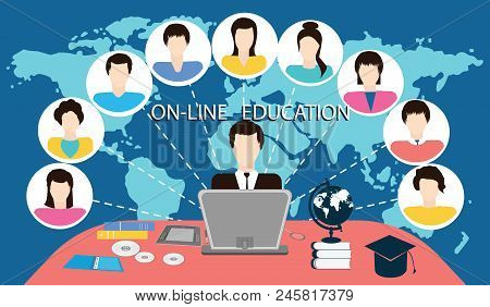 Online Training - Leader And Group Of People - World Map Background - Vector Illustration