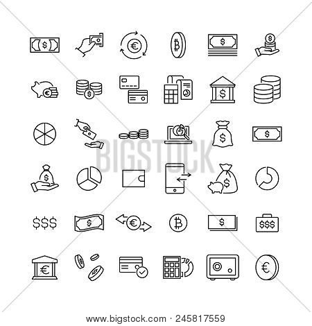 Simple Collection Of Finance Related Line Icons. Thin Line Vector Set Of Signs For Infographic, Logo