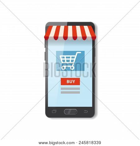 Mobile Shopping E-commerce Online Supermarket Store Cartoon Concept Vector And Electronic Business,