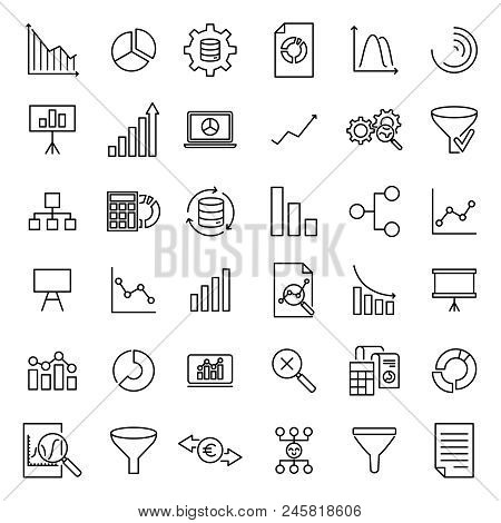 Modern Outline Style Analysis Icons Collection. Premium Quality Symbols And Sign Web Logo Collection