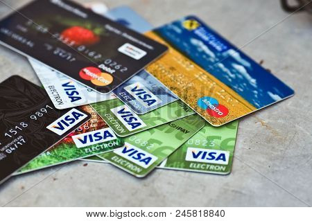 Heap Of Credit Cards, Visas And Mastercard,, Ukraine, On June 15, 2015.pile Of Visa Credit Cards. Vi