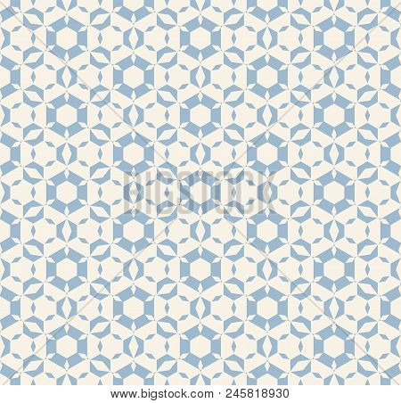 Subtle Vector Geometric Seamless Pattern. Modern Texture With Icy Figures, Hexagonal Elements, Flora