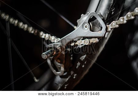 Rear Bicycle Derailleur Fell Apart In Half. Bicycle Rear Derailleur Foot Is Detached From The Body.