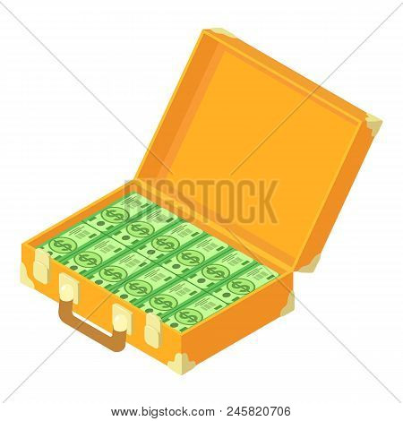 Cash Dollars Case Icon. Isometric Of Cash Dollars Case Vector Icon For Web Design Isolated On White