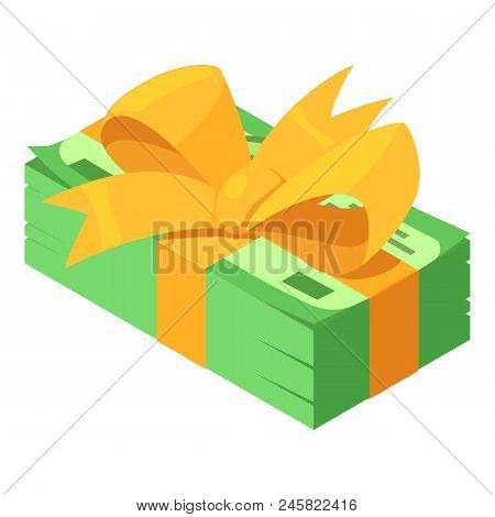 Pack Dollars Gift Icon. Isometric Of Pack Dollars Gift Vector Icon For Web Design Isolated On White