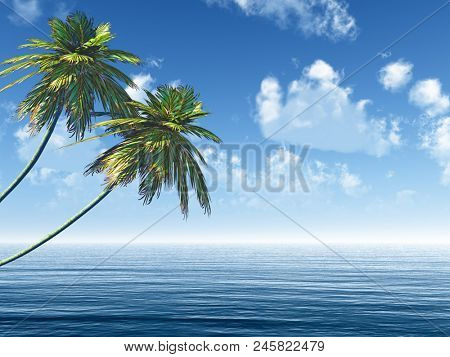 Two palms at sea coast - 3D rendering