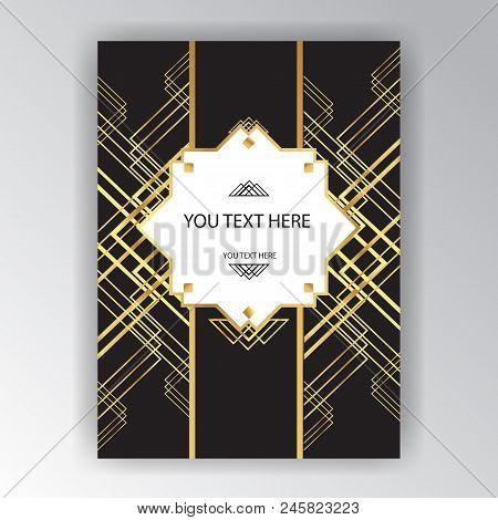 Modern Golden Black Page Background For Print And Web Art Deco , Art Novo Page Template. Line Art Ge
