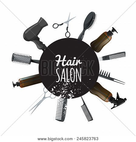Hair And Beauty Salon Poster With Black Circle And Hair Accessories. Professional Hairdressers Tools