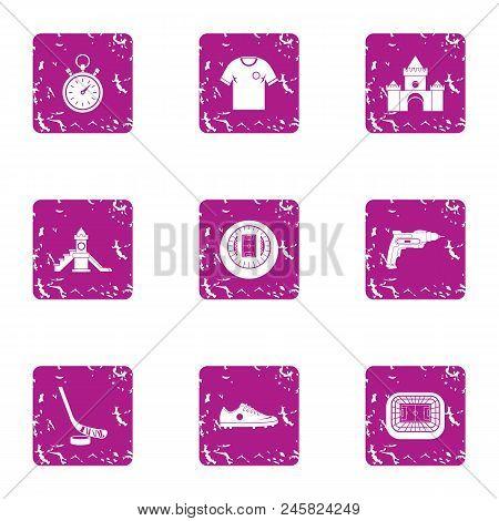 Building For Children Icons Set. Grunge Set Of 9 Building For Children Vector Icons For Web Isolated