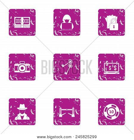 Hacker Attack Icons Set. Grunge Set Of 9 Hacker Attack Vector Icons For Web Isolated On White Backgr