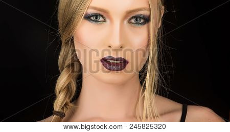 Fashion Model With Makeup And Stylish Hairdo. Hairdresser And Beauty Salon. Makeup Look And Skincare