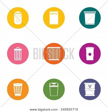 Waste Material Icons Set. Flat Set Of 9 Waste Material Vector Icons For Web Isolated On White Backgr