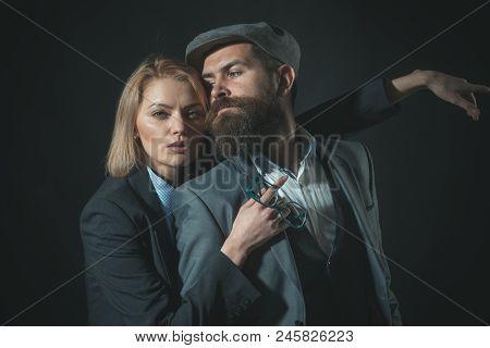 Couple Detectives Investigators Partners. Partnership Clever Intelligent Reporter Investigator. Man
